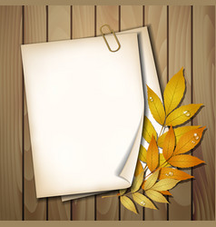 Paper sheet with autumn leaves vector