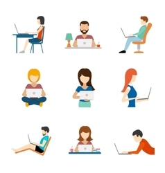 People working on computer flat icons vector image vector image