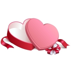 Pink gift open box in heart shape Gift open box vector image vector image