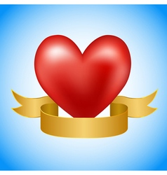 Red heart with golden ribbon vector image