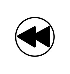 rewind music player button linear icon vector image
