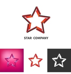 Scattered Star Logo Set Colored Black And White vector image