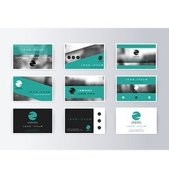 Set of business cards turquoise background vector image