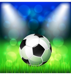 Soccer ball on stadium background vector image vector image