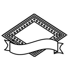 silhouette heraldic diamond shape stamp with vector image vector image