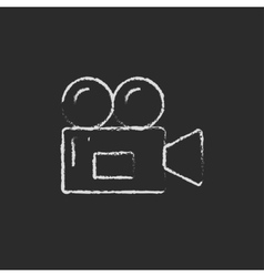 Video camera drawn in chalk vector image vector image