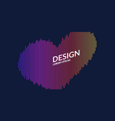 A heart drawn with lines on a dark background vector