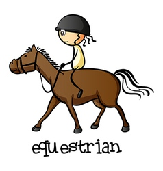 A young girl riding a horse vector