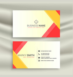 abstract red yellow geometric business card design vector image