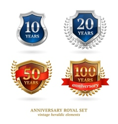 Anniversary golden heraldic labels set vector