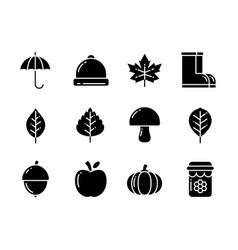 Autumn icon set with solid style symbols vector
