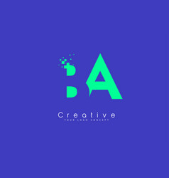 ba letter logo design with negative space concept vector image