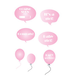 Baby girl set - pink bubbles and balloons vector