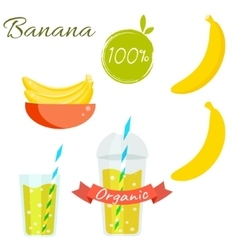Banana fruit and juice set vector image