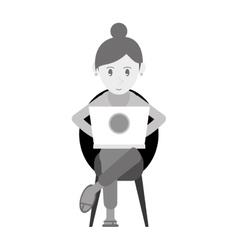 Beutiful girl using laptop sitting monochromatic vector