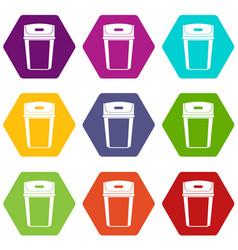 Big trashcan icon set color hexahedron vector