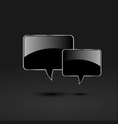 black glossy glass speech bubbles vector image