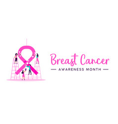 breast cancer awareness month women charity banner vector image