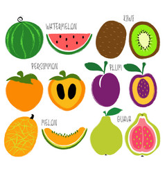 brush grunge fruits icons set vector image