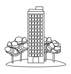 building with trees vector image