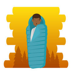 Camping zone with sleeping bag vector