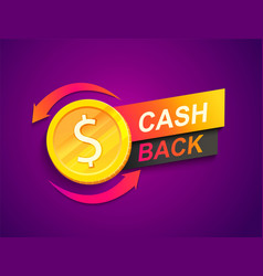 cash back offer banner promotion refund vector image