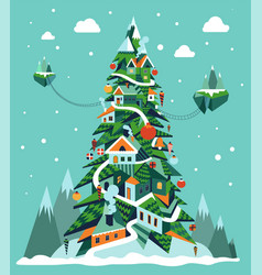 christmas high tree composed houses and vector image