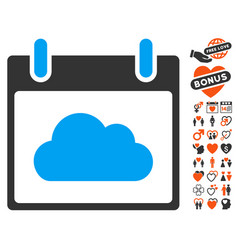 Cloud calendar day icon with dating bonus vector