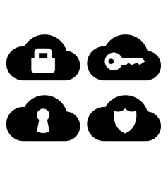 Cloud security icons set vector