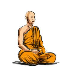 Color line sketch meditating monk vector