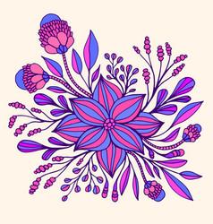 colrful fantasy flower purple blue color framed vector image