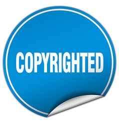 Copyrighted round blue sticker isolated on white vector