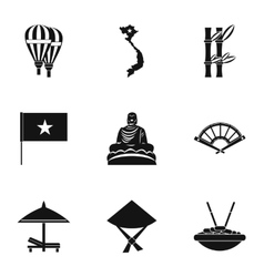 Country Vietnam icons set simple style vector