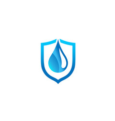 Creative abstract blue droplet shield logo design vector