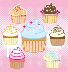 Cupcake with halftone vector