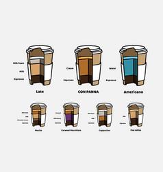Cutaway cardboard glasses coffee drinks with vector