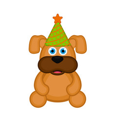 cute dog with party hat icon vector image