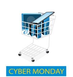 Desktop Computer in Cyber Monday Shopping Cart vector image