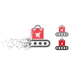 Disintegrating dot halftone baggage conveyor icon vector