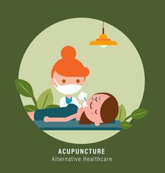 Facial acupuncture treatment vector