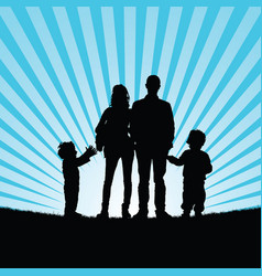 family with happy children in beauty nature vector image