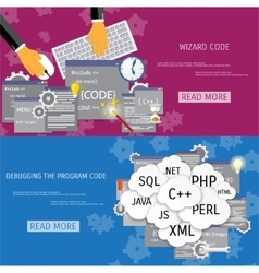 flat concept of programming and coding vector image