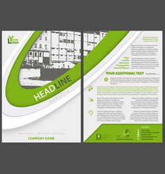 flyer template with stripes and city drawing vector image