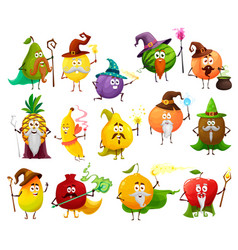 Fruit magician witch wizard cartoon characters vector