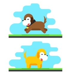 Funny Dog Sky Background Concept Flat Design vector image