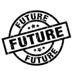 Future round grunge black stamp vector
