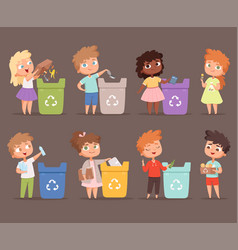 Garbage recycling kids protect environment vector