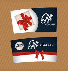 gift voucher card with ribbon red vector image