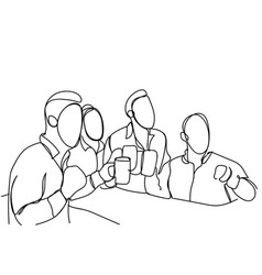 Group of sketch men drinking beer hold glasses vector