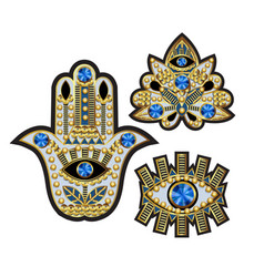 Hamsa all-seeing eye and lotus patches vector